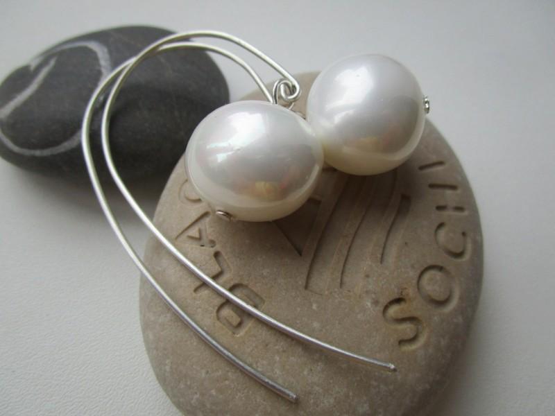 Серебряные серьги из жемчуга Суфле
