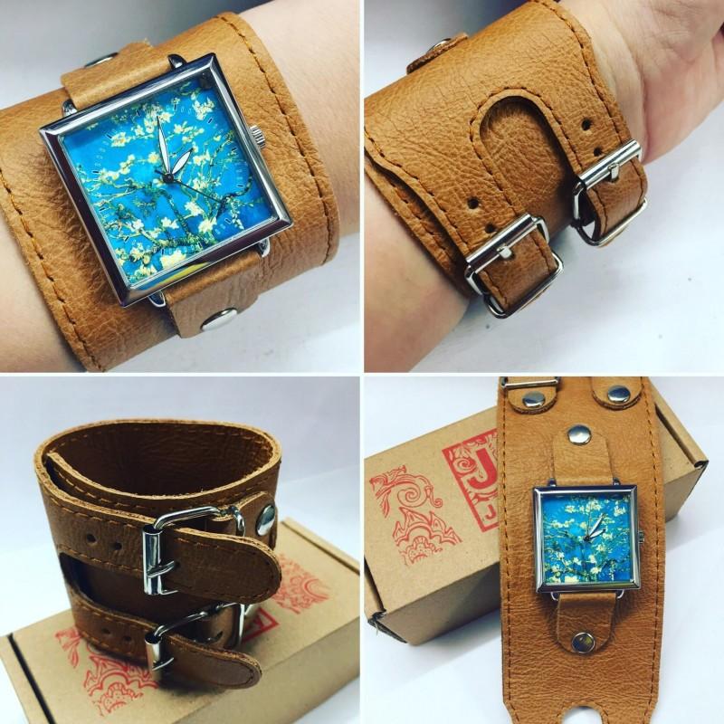 Кожаные браслеты для часов с 2-мя пряжками