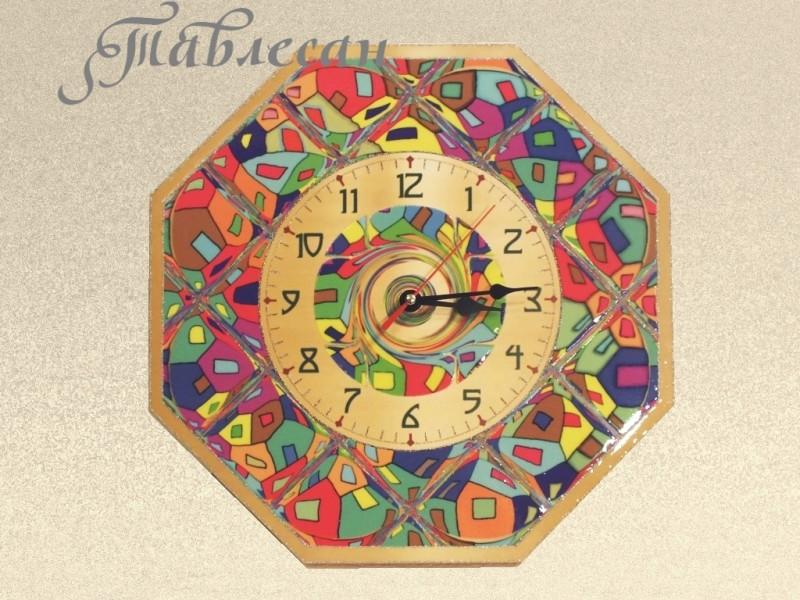 Настенные часы Домики Хундертвассера восьмигранник