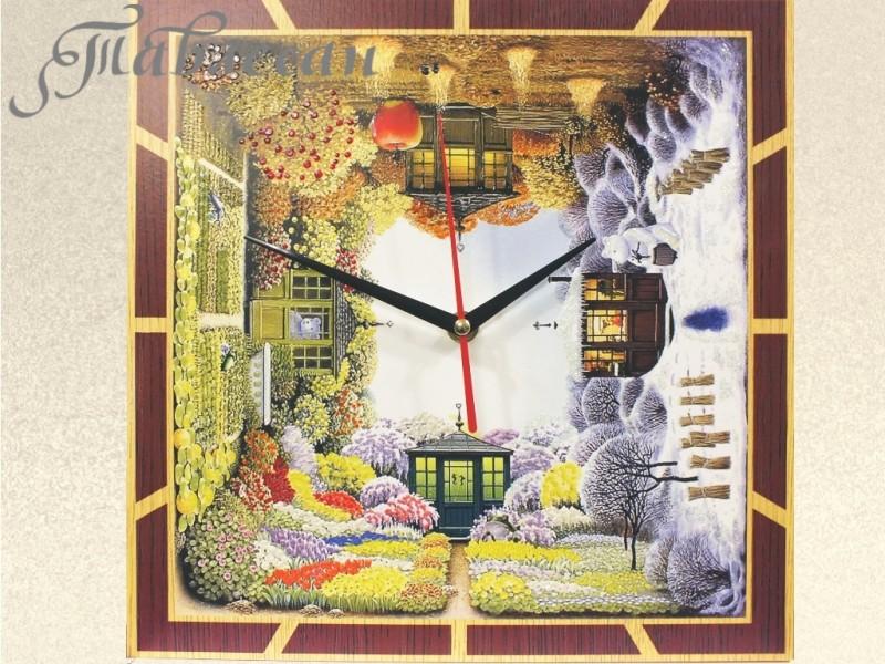 Часы настенные Времена года квадратные