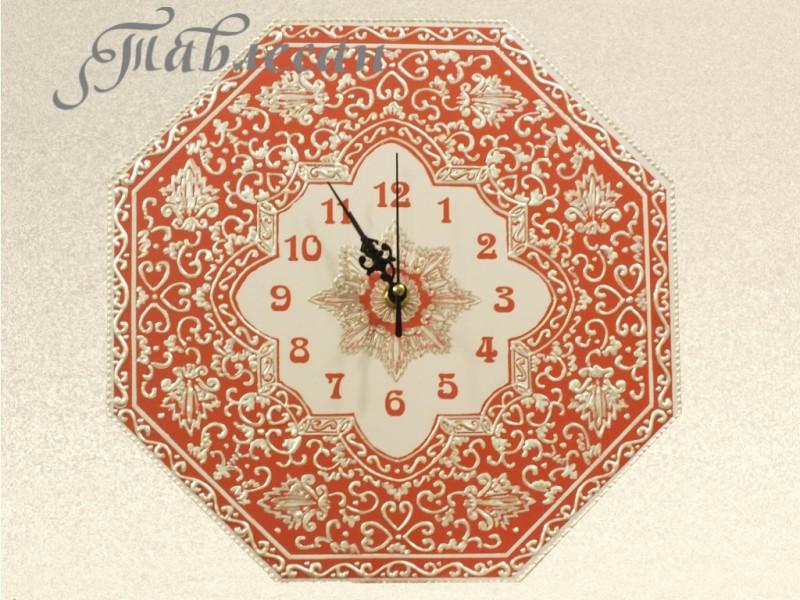 Часы настенные Арабеска в восточном стиле в гостиную красные
