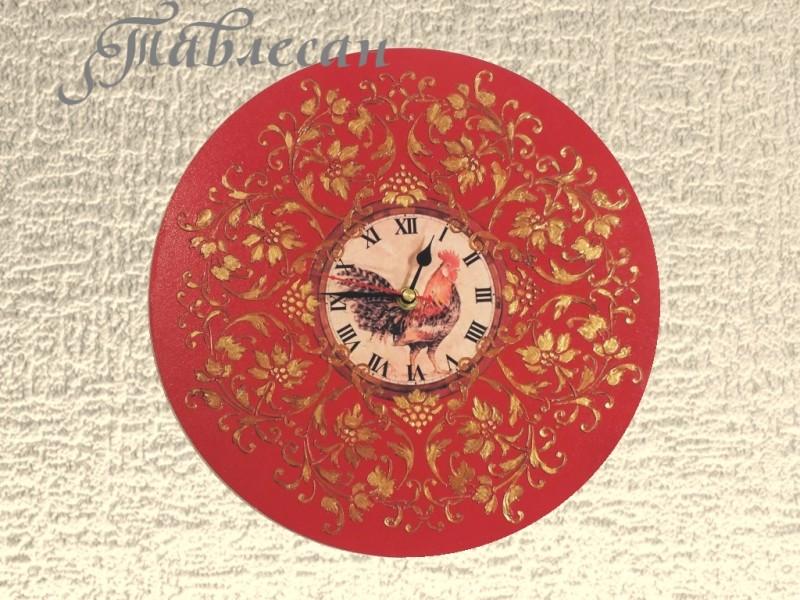 Настенные часы Красный петух плимутрок круглые