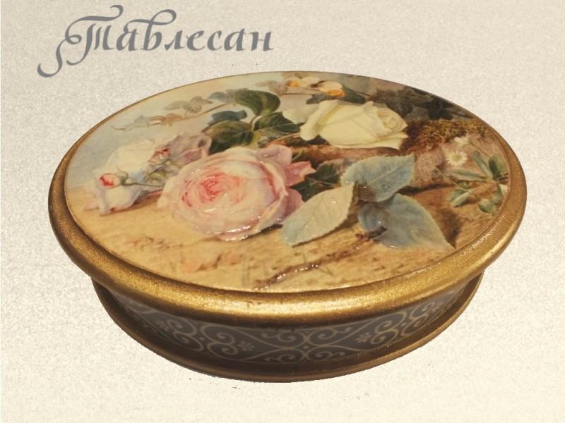 Шкатулка винтажная Английские розы декупаж