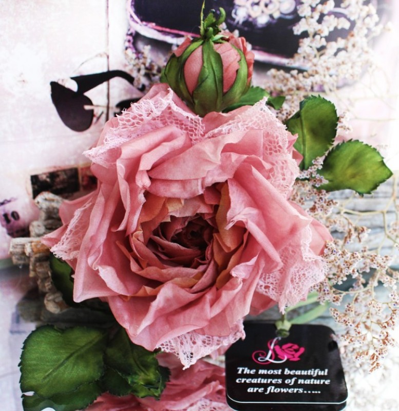 Брошь – заколка  «Лакомка». Цветы из ткани