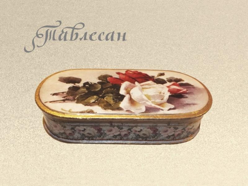 Шкатулка - очечник  винтажная Розы декупаж