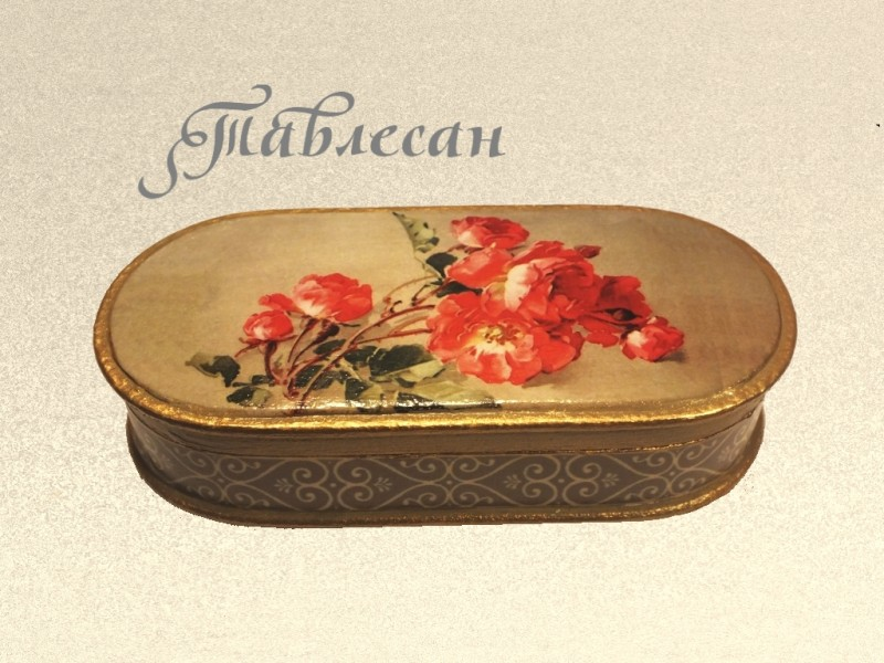 Шкатулка - очечник Красная роза флорибунда декупаж