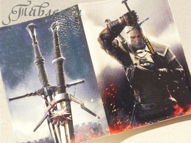 Обложка для паспорта Ведьмак с мечом кожа для мужчины