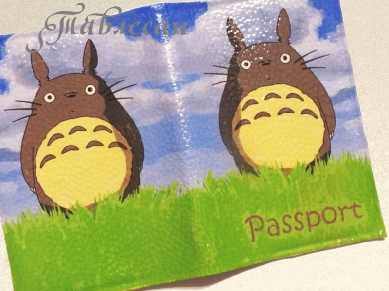 Обложка для паспорта  Мой сосед Тоторо кожа