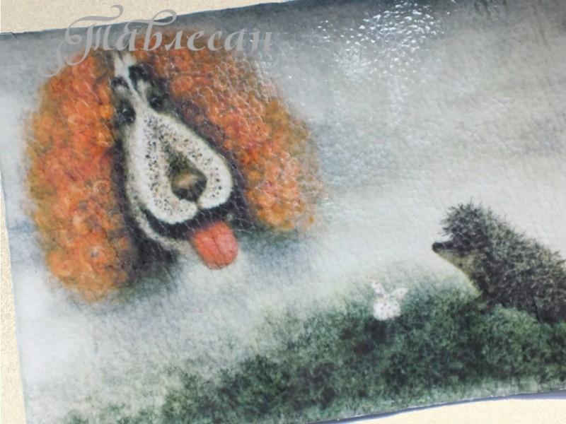 Обложка для паспорта  Ежик в тумане. Собачка кожа