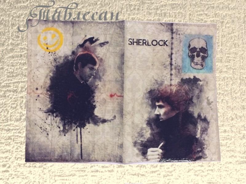 Обложка для паспорта Шерлок и Джон кожа, декупаж
