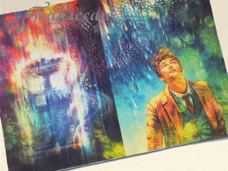 Обложка для паспорта Доктор Кто. Тардис и 10 Доктор кожа
