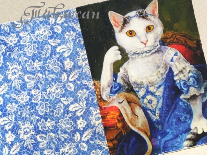 Обложка для паспорта Кошка Антуанетта кожа