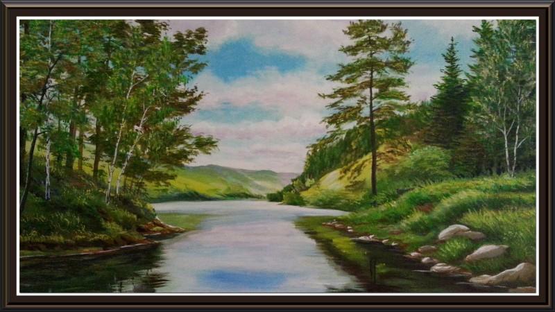 Картина Река.Лес.Камни
