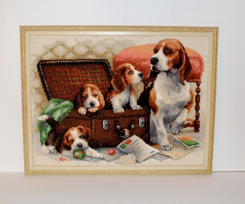Картина вышитая крестиком Собачье семейство от Риолис