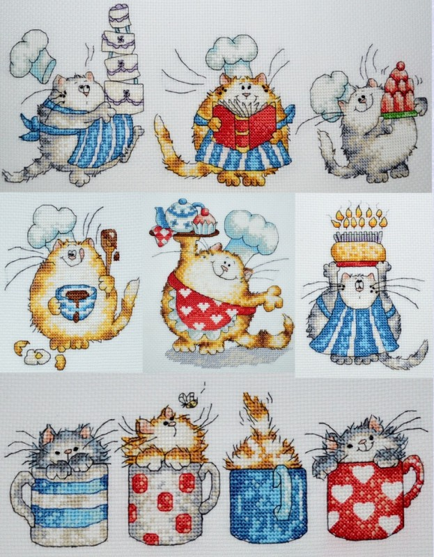 Вышитые картины для кухни коты Маргарет Шерри