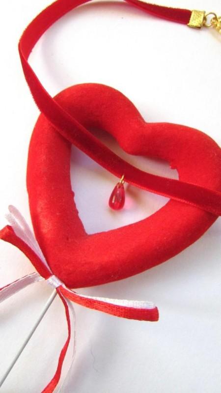 Handmade чокер из красного бархата + подарок