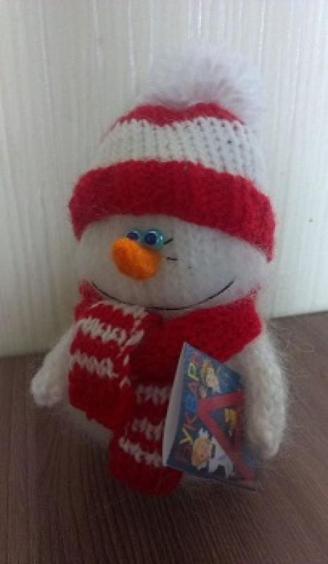 Снеговик Школьник - вязаная игрушка.