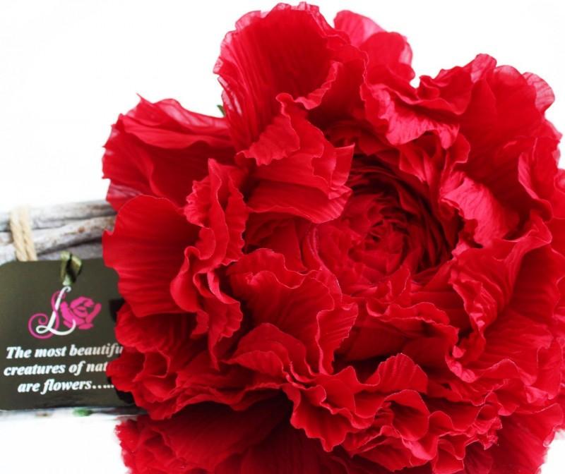 Брошь-заколка пион «Красный». Цветы из ткани