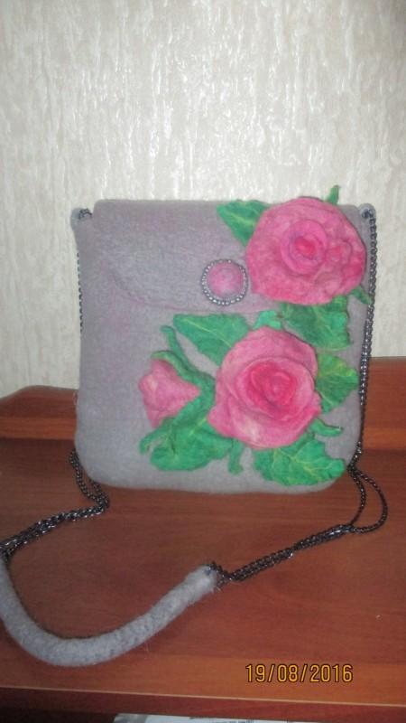 сумка валяная цветочная