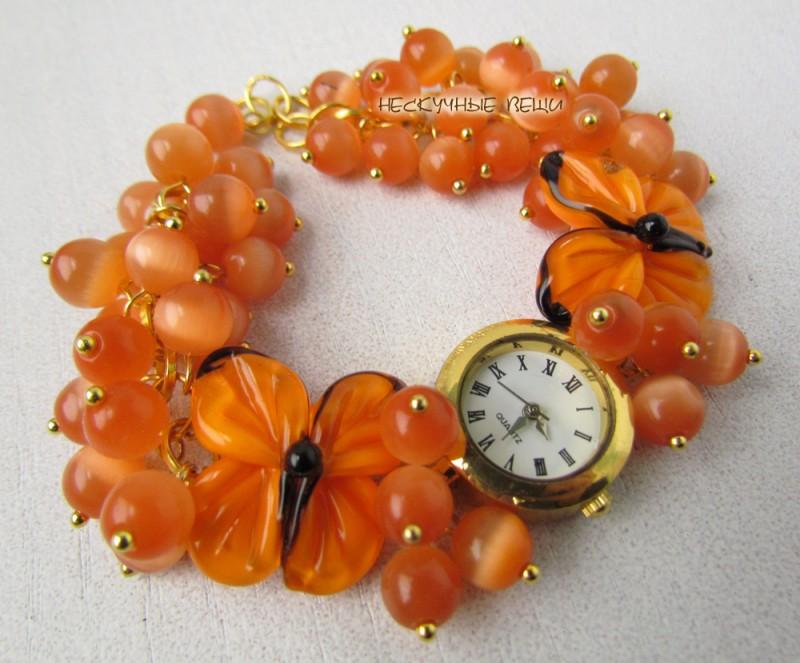 Оранжевое небо наручные часы с бусинами лэмпворк