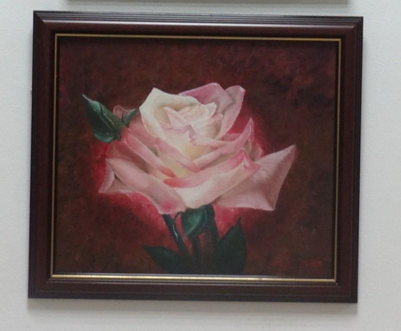Роза на темном, картина маслом