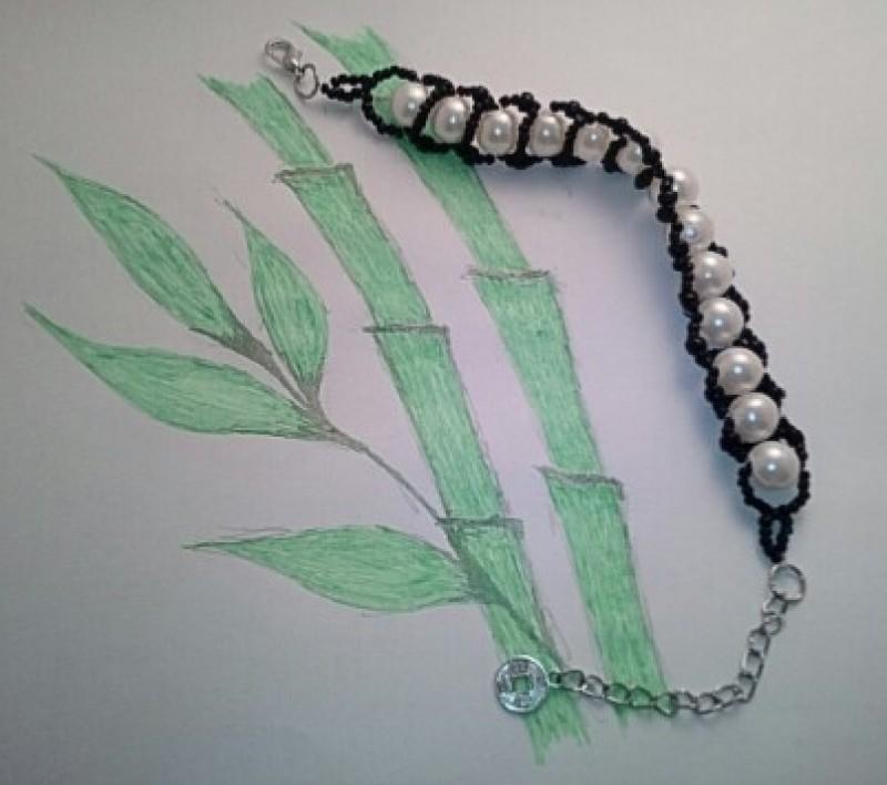 Черно-белый браслет Панда