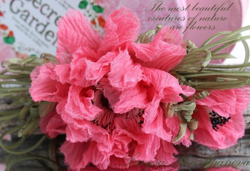 Мак шелковый «Сладкий сон». Цветы из ткани