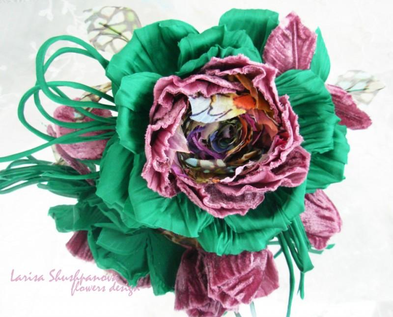 Цветы из ткани. Шелковая роза «Роскошь»