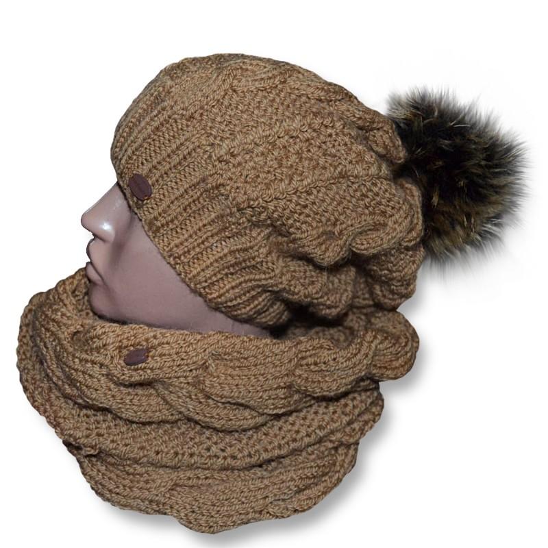 Вязаный женский комплект,шапочка+снуд.