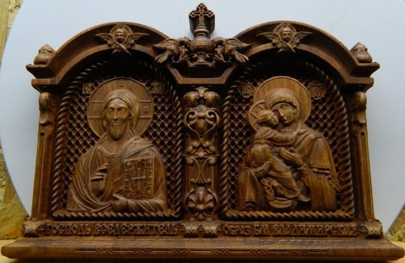 Венчальная пара деревянная резная Икона
