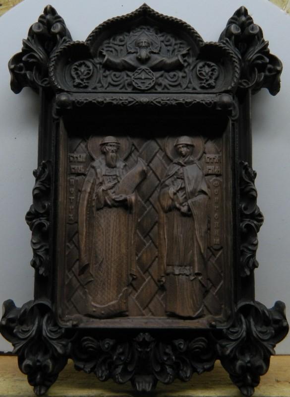 Святые Петр и Феврония деревянная резная Икона