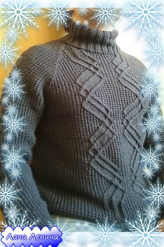 Описание со схемами к мужскому свитеру с узором Зигзаг