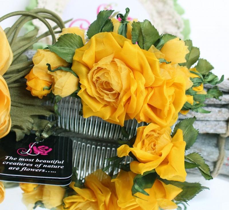 Гребешок с шелковыми розами