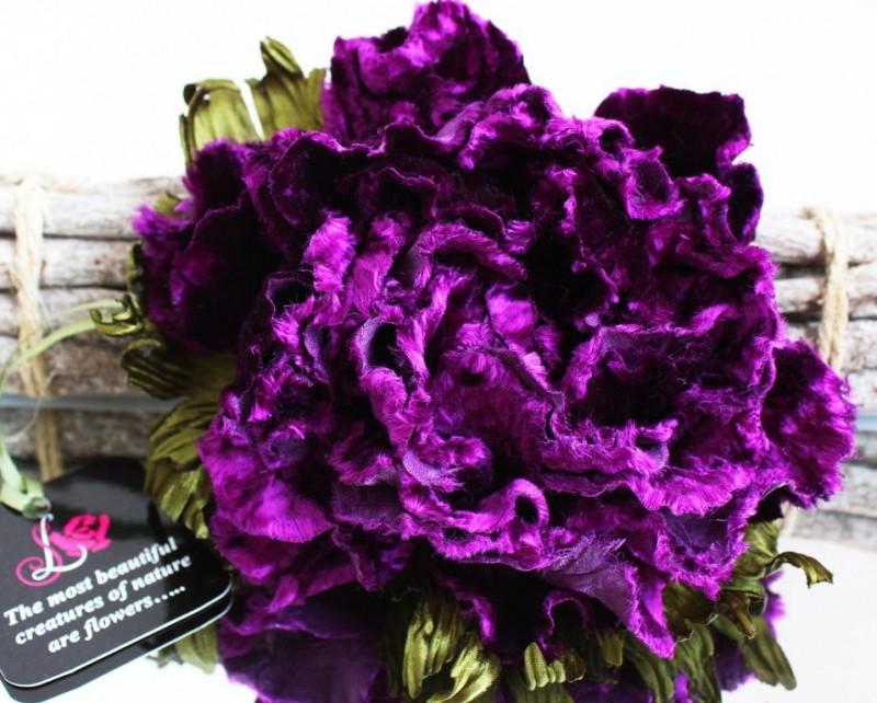 Брошь - заколка пион «Пиония». Цветы из ткани