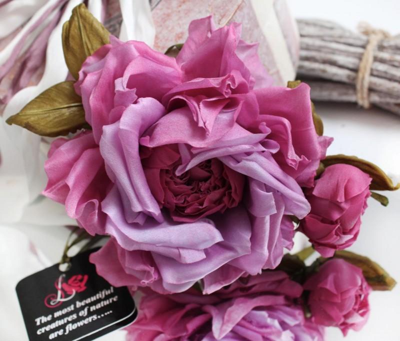 Цветы из ткани. Шелковая роза «Весна»