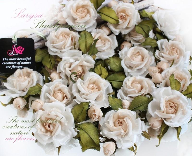 Маленькие шелковые розочки «Татьянин день». Цветы из ткани