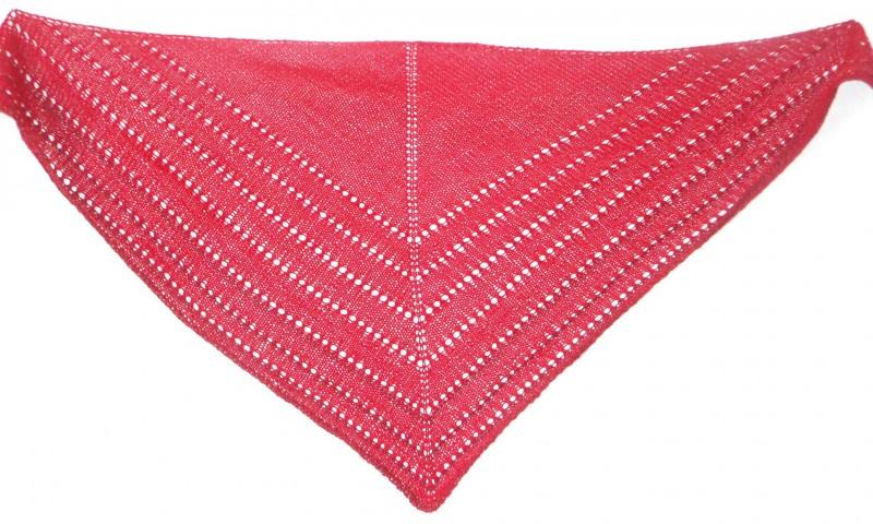 Шаль-бактус Темно красный, связанный спицами