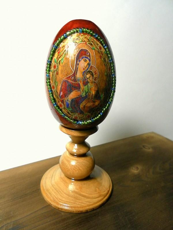 Яйцо пасхальное, пасхальный сувенир, подарок к Пасхе Дева Мария