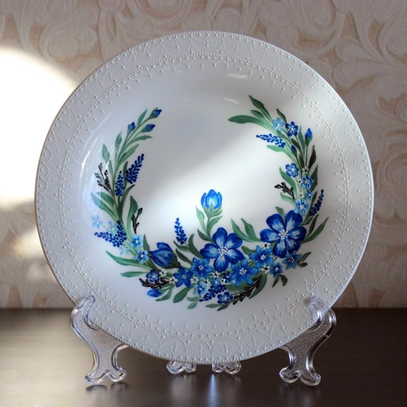 Декоративная тарелка Васильковые мотивы