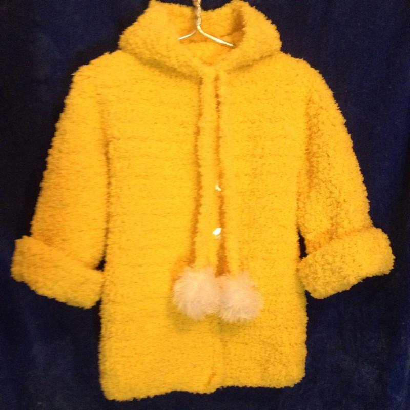 Вязаное плюшевое пальто для девочки с капюшоном