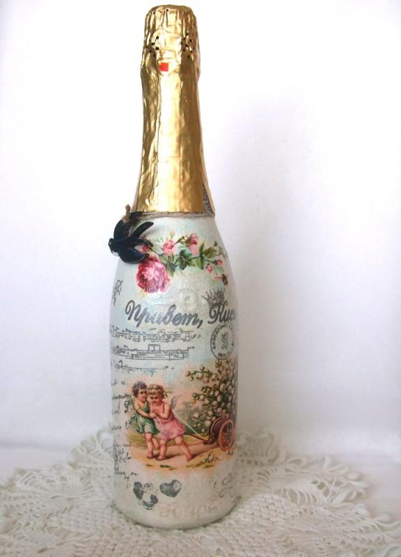Декорированная бутылка ЛандышиНА ЗАКАЗ