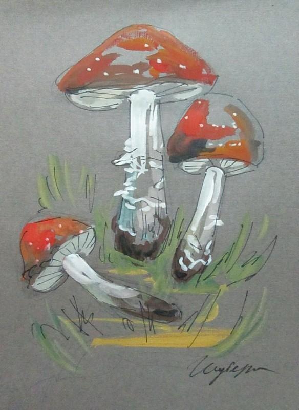 Мухоморы, грибы, бумага, акрил, формат А4, картина
