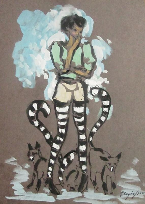 Девушка с лемурами, бумага, акрил, формат А4, картина