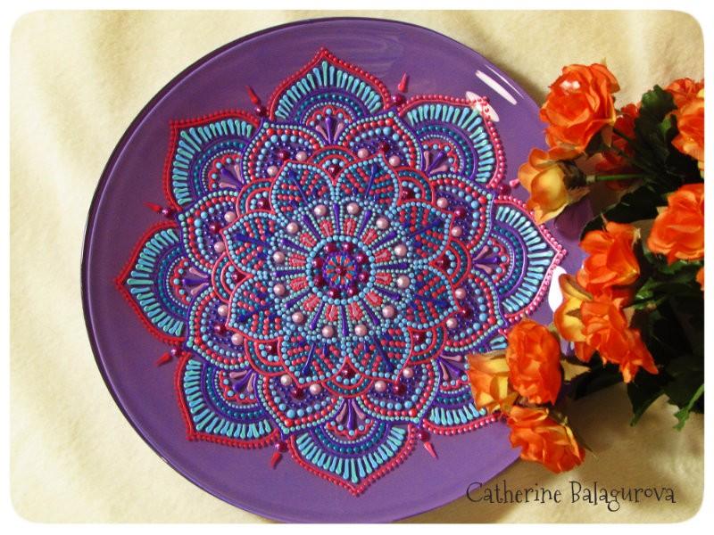 Тарелка стеклянная *Северный цветок*