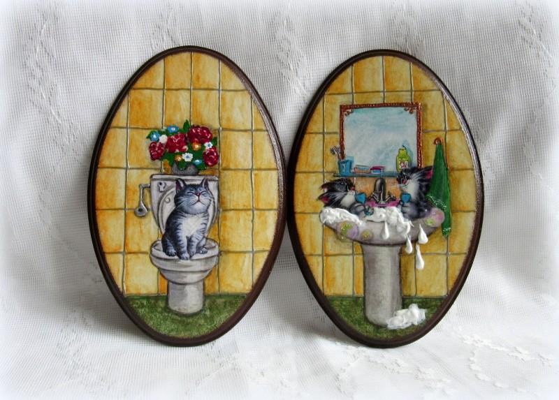 Бирочки на двери ванной и туалетной комнаты. Декупаж.