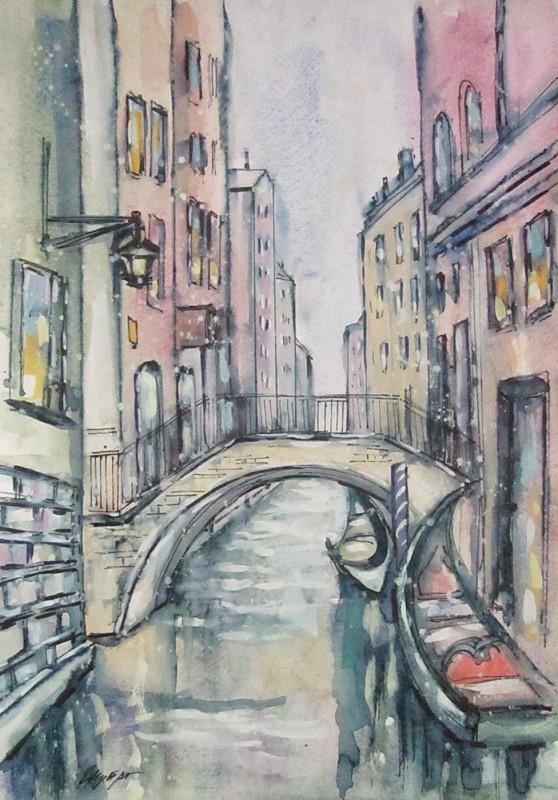 Акварель, Венеция, городской пейзаж, формат А3
