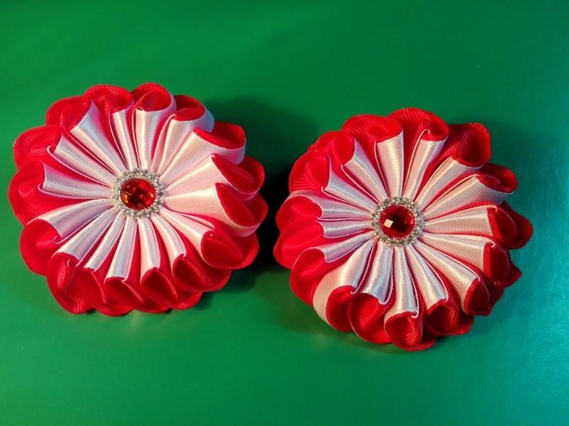 Банты на резиночках Зефир в стиле канзаши.