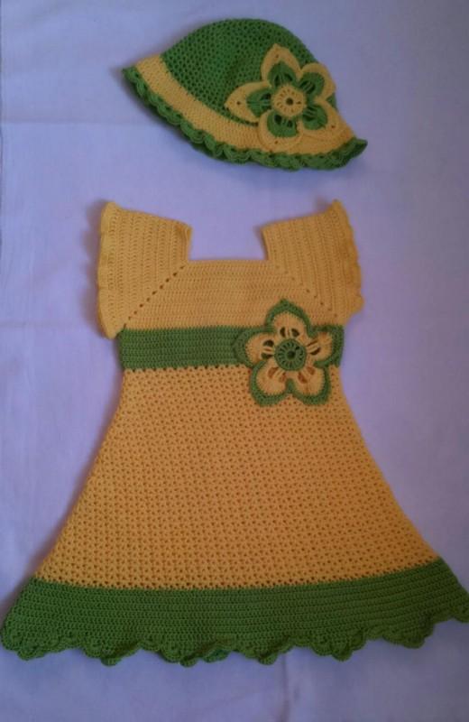 Платье с шапочкой вязаное крючком для девочки 6-12 месяцев