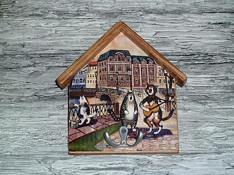 Ключница домиком Питерские коты