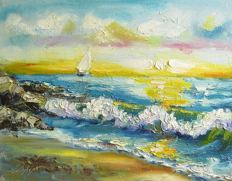Картина, море, холст, масло, размер 40 х 50 см.